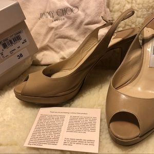 Jimmy Choo Nova slingback kid leather nude